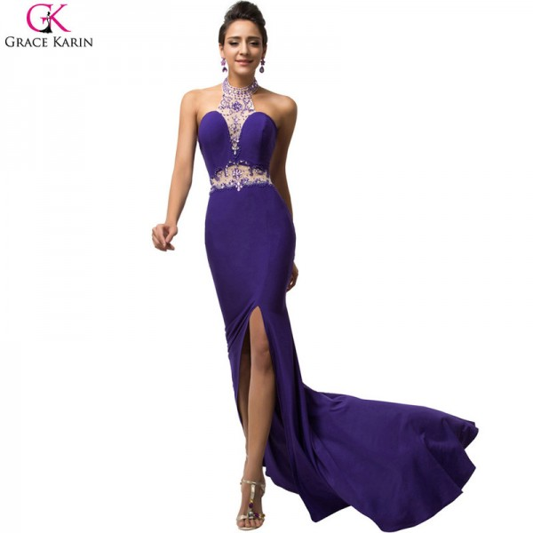 Sexy Dress Robe Grace Karin Halter Split Sequin Beaded Halter Backless Formal Gowns Purple Party Mermaid Dresses Extra Image 3
