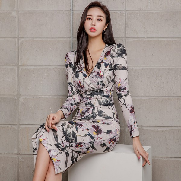 Sexy Floral Print Pencil Bodycon Dress Women 2019 Spring Elegant Full Sleeve Split Female Dress Casual Sheath Vestidos Extra Image 3