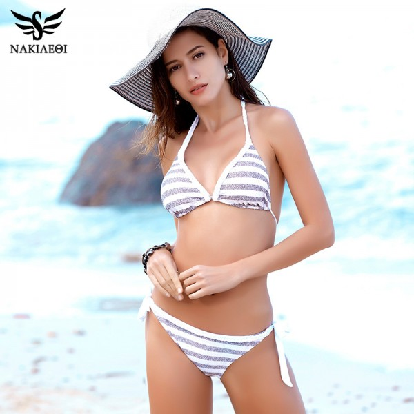 Sexy Handmade Crochet Bikinis Women Swimsuit Push Up Swimwear Brazilian Bikini Set Halter Bathing Suit Swim Wear Extra Image 3