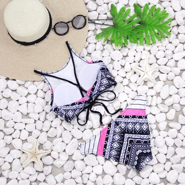 Sexy High Neck Bikini Women Swimwear Halter Swimsuit Newest Brazilian Bikini Set Bandage Print Retro Bathing Suit Extra Image 3