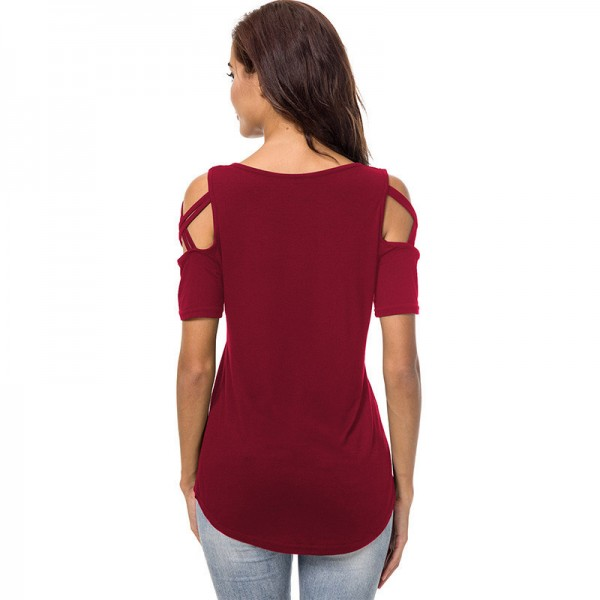 Sexy Hollow Out Short Sleeve T Shirt for Women Tops Tees Casual Solid O Neck Basic T Shirt Women Cotton T Shirt Extra Image 1