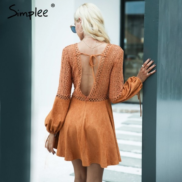 Sexy lace up Dress v neck suede lace women Hollow out flare sleeve backless winter dress Autumn dress party robe femme Extra Image 3