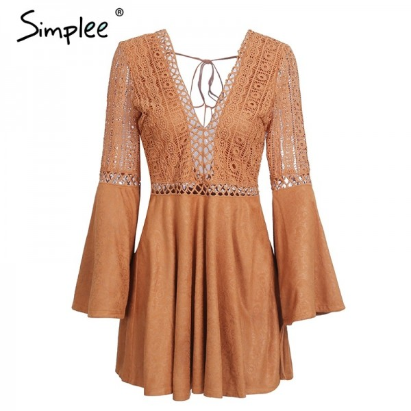 Sexy lace up Dress v neck suede lace women Hollow out flare sleeve backless winter dress Autumn dress party robe femme Extra Image 4