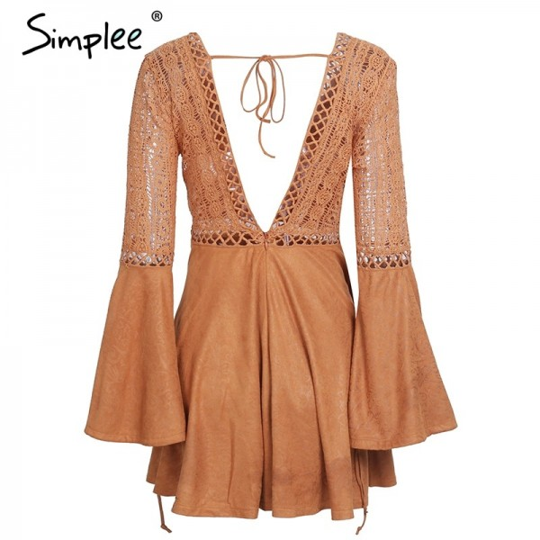 Sexy lace up Dress v neck suede lace women Hollow out flare sleeve backless winter dress Autumn dress party robe femme Extra Image 5