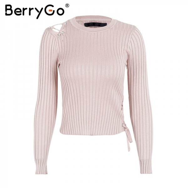 Sexy lace up knitting pullover Fashion black autumn winter sweater women Casual cold shoulder elastic streetwear jumper Extra Image 5