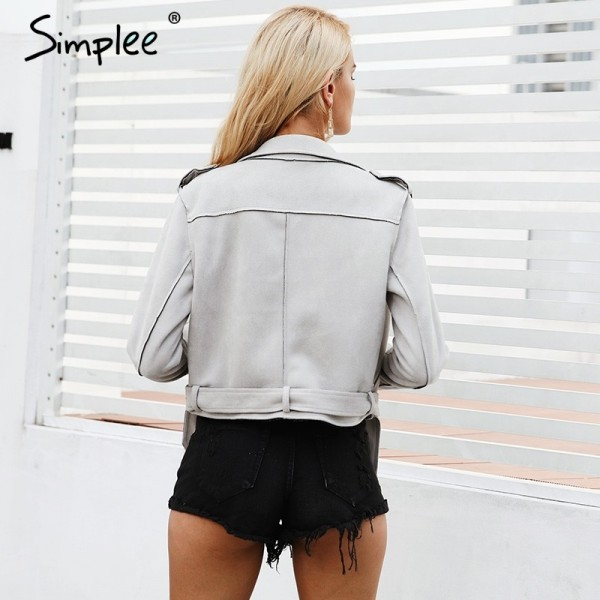 Sexy Leather Jacket suede faux leather Women zipper belt moto jacket Cool streetwear ladies leather jackets winter coat Extra Image 2