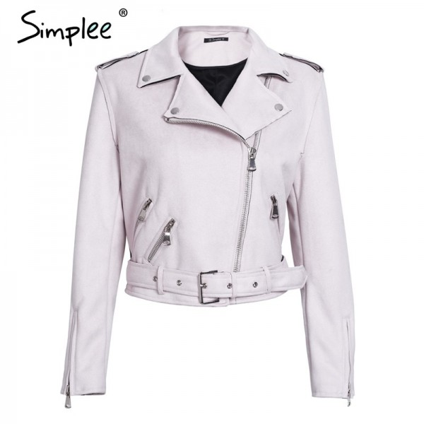 Sexy Leather Jacket suede faux leather Women zipper belt moto jacket Cool streetwear ladies leather jackets winter coat Extra Image 4