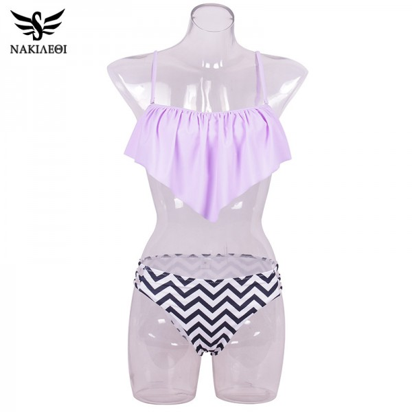 Sexy New Ruffle Vintage Bikinis Swimwear Women Swimsuit Bandage Solid Top Striped Cut Out Bottom Bathing Suit Swim Extra Image 3