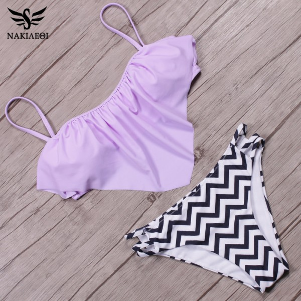 Sexy New Ruffle Vintage Bikinis Swimwear Women Swimsuit Bandage Solid Top Striped Cut Out Bottom Bathing Suit Swim Extra Image 5