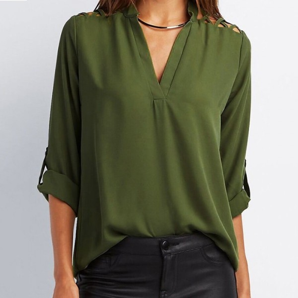 Sexy Off Shoulder Hollow Chiffon Shirt Women V Neck Long Sleeve Blouse Autumn Slim Sexy Blouse Shirt Extra Image 3