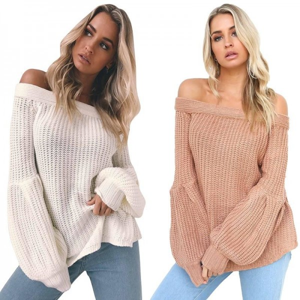 Sexy off Shoulder Knitted Sweater Women Brand Pullovers Knitwear Lantern Sleeve Autumn Winter Jumper Sweater Extra Image 2