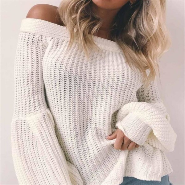 Sexy off Shoulder Knitted Sweater Women Brand Pullovers Knitwear Lantern Sleeve Autumn Winter Jumper Sweater Extra Image 3