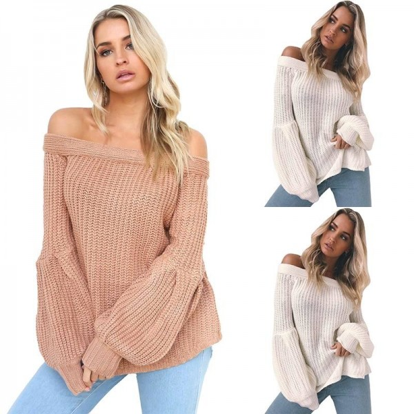... Sexy off Shoulder Knitted Sweater Women Brand Pullovers Knitwear Lantern  Sleeve Autumn Winter Jumper Sweater Extra ... 60bb1590f