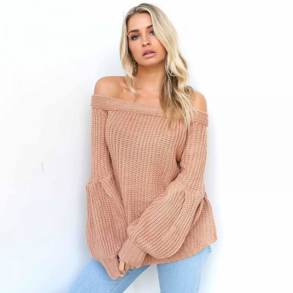 Sexy off Shoulder Knitted Sweater Women Brand Pullovers Knitwear Lantern Sleeve Autumn Winter Jumper Sweater Extra Image 6