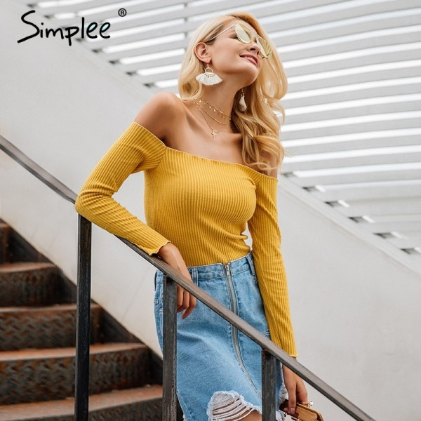 Sexy off soulder knitted top tees Women black long sleeve bustier top Party white tops tank slim female camisole