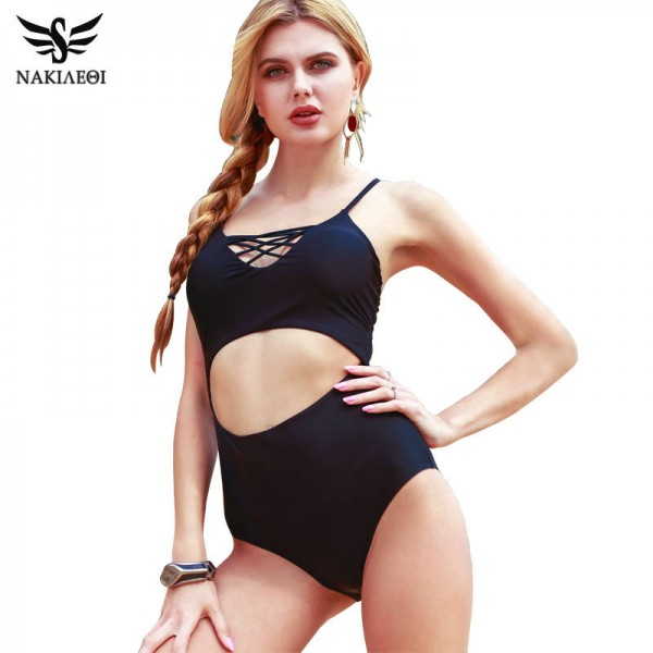 Sexy One Piece Swimsuit Bodysuit For Women Bandage Beach Bikini Black Hot Cut Out Retro Female Swimwear Extra Image 0