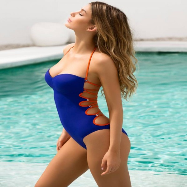 Sexy One Piece Swimsuit For Women Blue Bodysuit Hollow Out Cross Straps Summer Backless Swimwear For Female