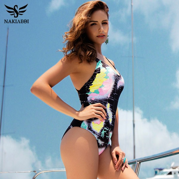 Sexy One Piece Swimsuit Women Summer Swimwear World Map Bandage Bodysuit Monokini Beach Bathing Suits Swim Wear Extra Image 2