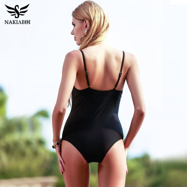 Sexy One Piece Swimsuits For Female Women Bodysuit Bathing Suits Retro Monokini Vintage Bandage Beach Wear Extra Image 1