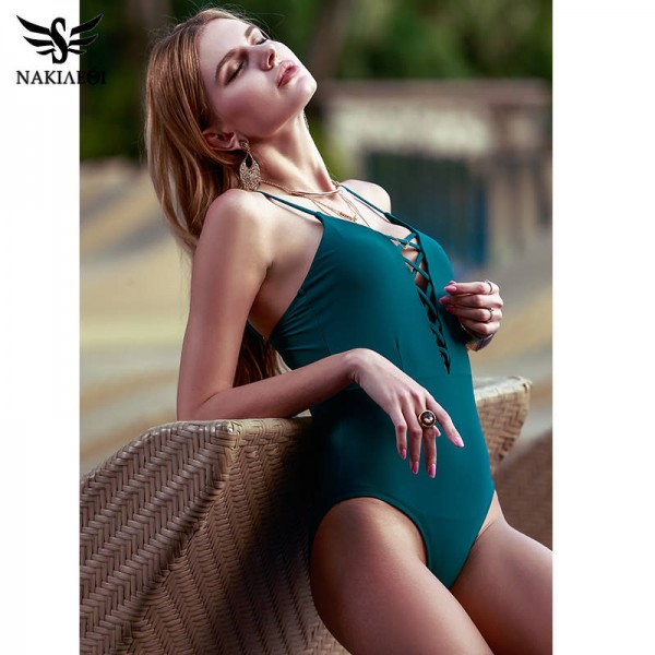 Sexy One Piece Swimsuits For Female Women Bodysuit Bathing Suits Retro Monokini Vintage Bandage Beach Wear Extra Image 2