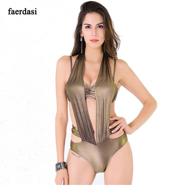 44626cb56a Sexy One Piece V Neck Swimwear Push Up Padded Swimsuit Gold Beachwear  Hollow Out Bandage Swimsuit ...
