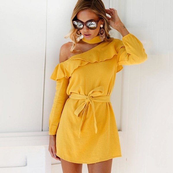 Sexy One Shoulder Dress High Neck Party Dress Club Bodycon Dress Bandage Autumn Ruffles Yellow Women Dress Extra Image 2