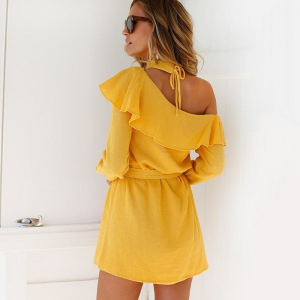 Sexy One Shoulder Dress High Neck Party Dress Club Bodycon Dress Bandage Autumn Ruffles Yellow Women Dress Extra Image 3