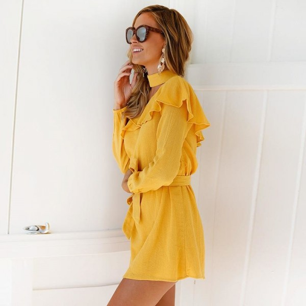 Sexy One Shoulder Dress High Neck Party Dress Club Bodycon Dress Bandage Autumn Ruffles Yellow Women Dress Extra Image 5