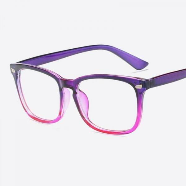 Sexy Purple Spectacle Frame Square Glasses Frame Clear Lens Myopia Nerd Black Sunglasses Two Tone Rivet Eyeglasses Extra Image 3