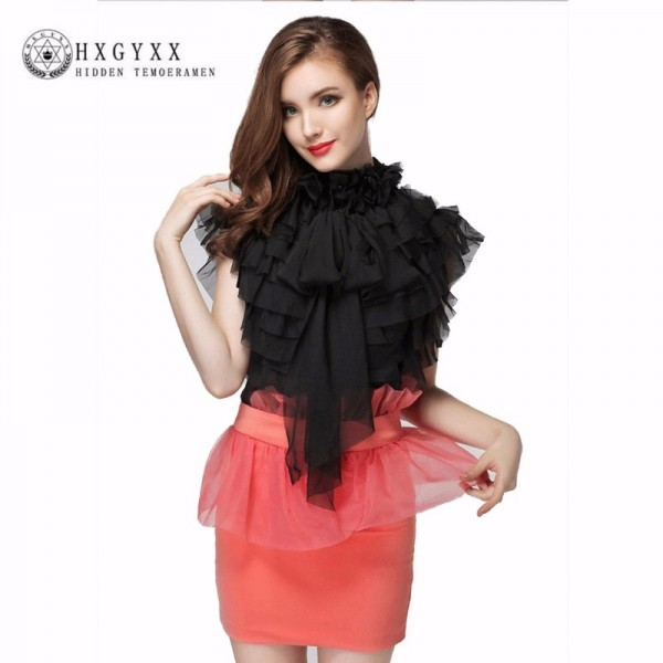 Sexy See Through Short Chiffon Shirt 3D Floral Stand Collar Multilayer Ruffles Sleeveless Vintage OL Chiffon Blouse Extra Image 1