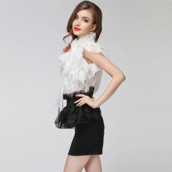 Sexy See Through Short Chiffon Shirt 3D Floral Stand Collar Multilayer Ruffles Sleeveless Vintage OL Chiffon Blouse Extra Image 3