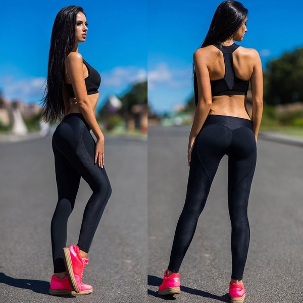 Sexy Splicing Peach Heart Shaped Hip Slim Absorb Sweat Fitness Black Polyester Women Leggings Plus Size Leggings Extra Image 2