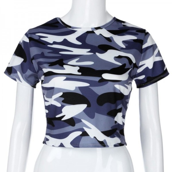 Sexy T shirt Women crop top camis tshirt summer Womens Fashion Camouflage Bare Midriff Short Sleeve Crop Tops Extra Image 5