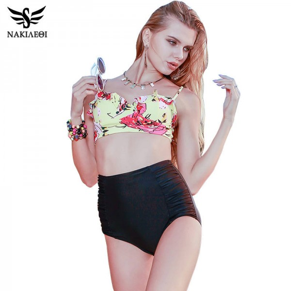 Sexy Two Piece Swimsuit For Ladies Plus Size High Waist Bathing Suits Push Up Floral Retro Bikini Set Extra Image 0