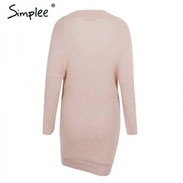 Sexy V neck cross knitting sweater dress Women elegant long sleeve pullover female winter dress Autumn casual jumper Extra Image 5