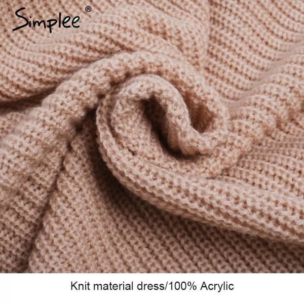 Sexy V neck cross knitting sweater dress Women elegant long sleeve pullover female winter dress Autumn casual jumper Extra Image 6