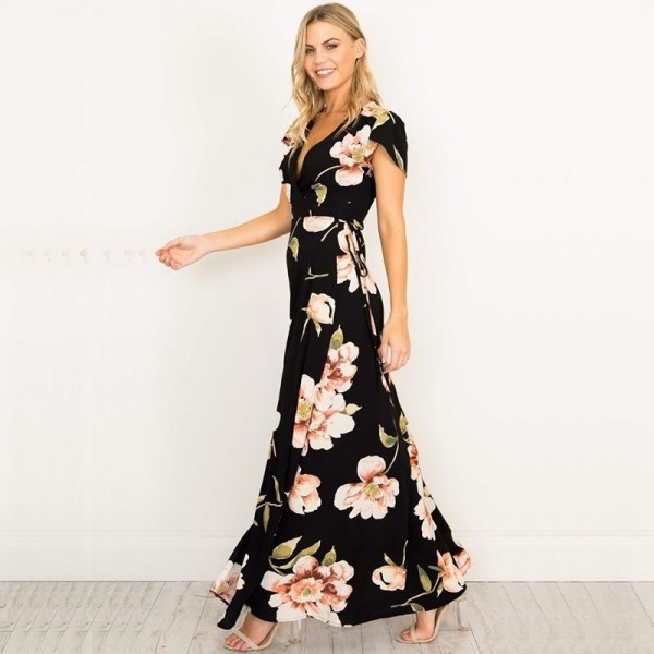 Sexy Women V Neck Maxi Dress Floral Print Party Wear Dress Long Dresses Female Casual Beach Outwear For Females Extra Image 2