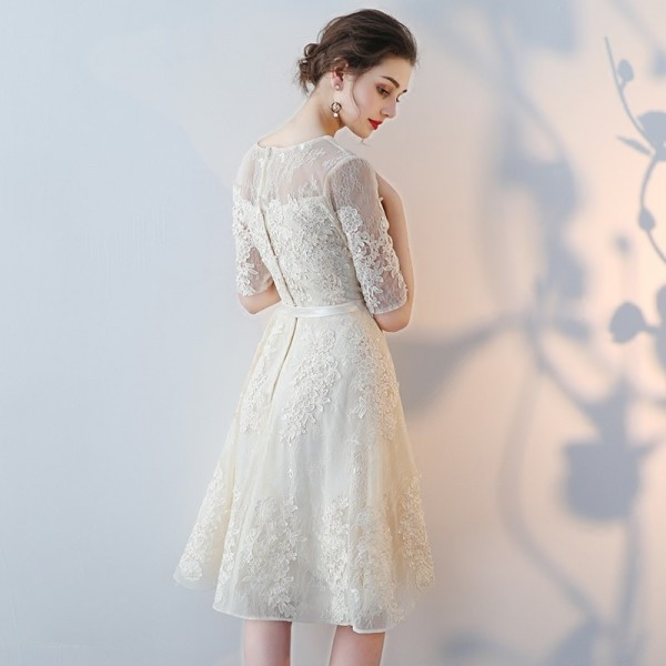 Short A Line Prom Dresses With Lace Sleeve Cheap Elegant Evening Party Dress Special Occasion Styling Gowns Extra Image 6