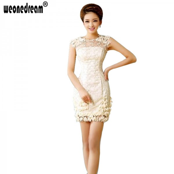 Short Bridal Dinner Evening Prom Dress Champagne New Fashion Slim Birthday Party Formal Dress For Women Thumbnail