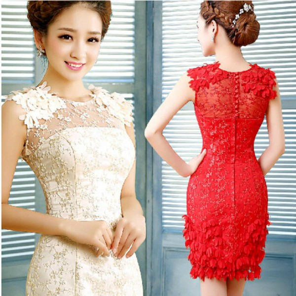 Short Bridal Dinner Evening Prom Dress Champagne New Fashion Slim Birthday Party Formal Dress ...