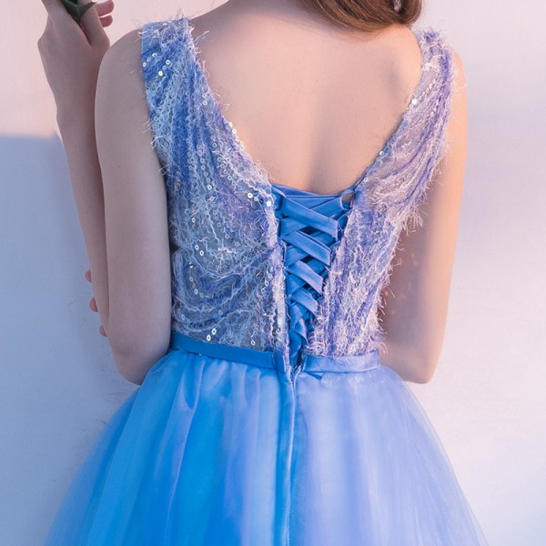 Short Cocktail Dress The Bride Banquet Feathers with Sequined Sleeveless Knee Length Party Formal Evening Ladies Gown Extra Image 4