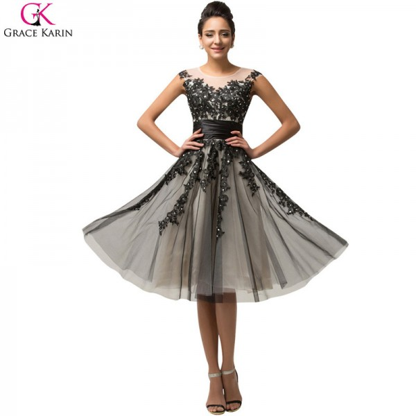 Buy Short Prom Dress Grace Karin Satin Tulle Bead Sequin Cap Sleeve ...
