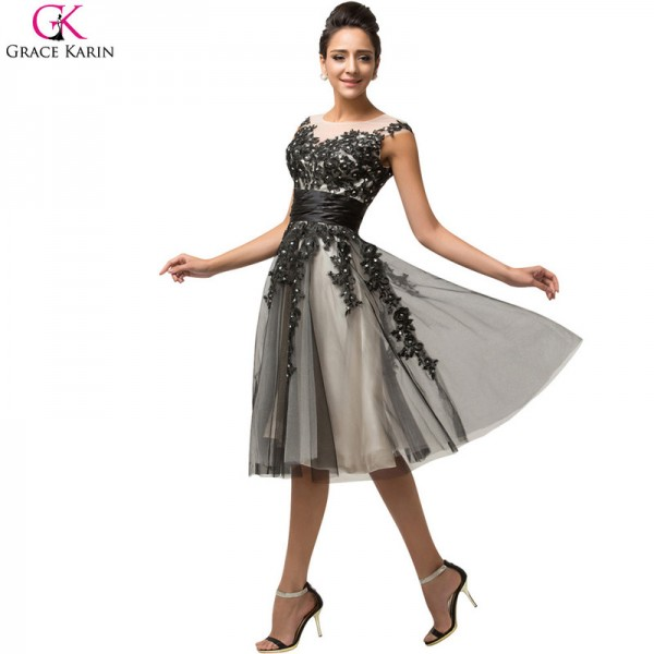 Short Prom Dress Grace Karin Satin Tulle Bead Sequin Cap Sleeve Sheer Formal Gowns Bridal Wedding Party Dress Prom Extra Image 4