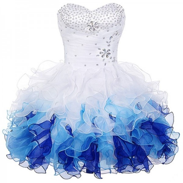 Buy Short Prom Dresses Robe De Soiree Organza Blue Ombre Ball Gown