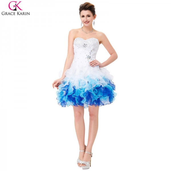 Short Prom Dresses Robe De Soiree Organza Blue Ombre Ball Gown Cheap Formal Party Dress Tutu Puffy Prom Dresses Extra Image 1