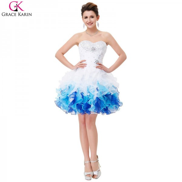 302a73a66bf82 Buy Short Prom Dresses Robe De Soiree Organza Blue Ombre Ball Gown Cheap  Formal Party Dress Tutu Puffy Prom Dresses