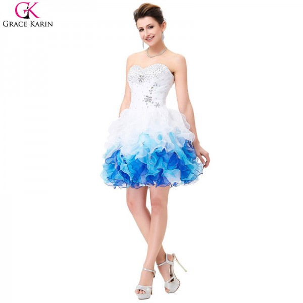 Short Prom Dresses Robe De Soiree Organza Blue Ombre Ball Gown Cheap Formal Party Dress Tutu Puffy Prom Dresses Extra Image 4