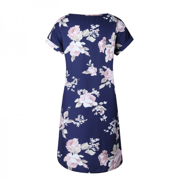 Short Sleeve Print Pink Floral Casual Mini Shirt Dress Women Summer Straight O Neck Ladies Fashion Loose Beach Dress Extra Image 4