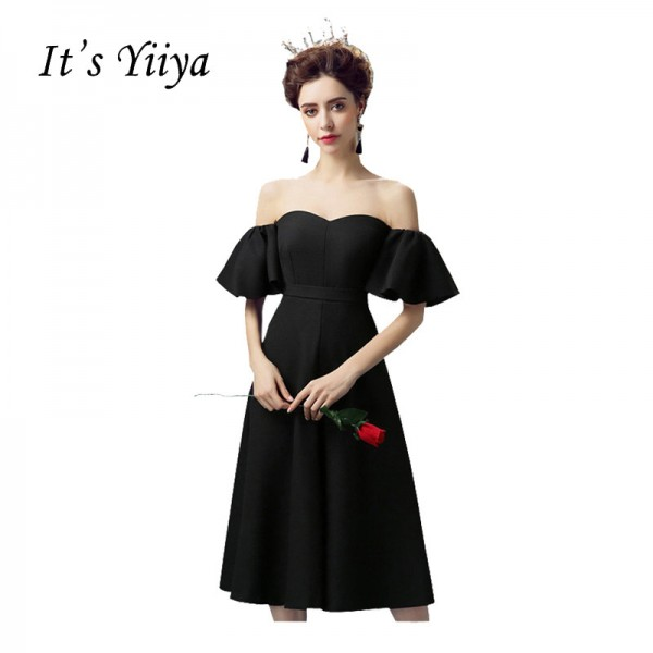 Short Sleeve Strapless Cocktail Party Ware Dresses Elegant Simple Little Black Dress Party Cocktail Black Frocks Extra Image 1