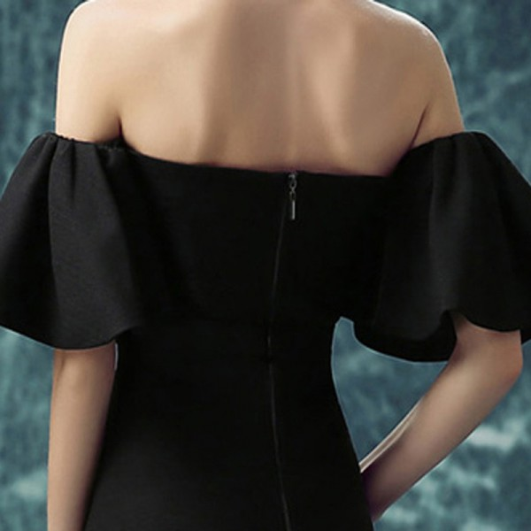 Short Sleeve Strapless Cocktail Party Ware Dresses Elegant Simple Little Black Dress Party Cocktail Black Frocks Extra Image 6